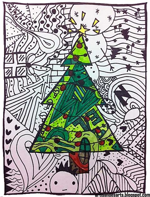 Christmas Decorations Lesson Plans : Artisan des arts quick and easy christmas doodles