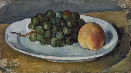 Paul Cezanne - raisin et une pèche sur une assiette,1877-1879.