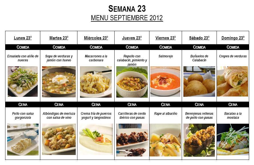 Semana 24 men mensual septiembre 2012 recetas que for Comida saludable para toda la semana