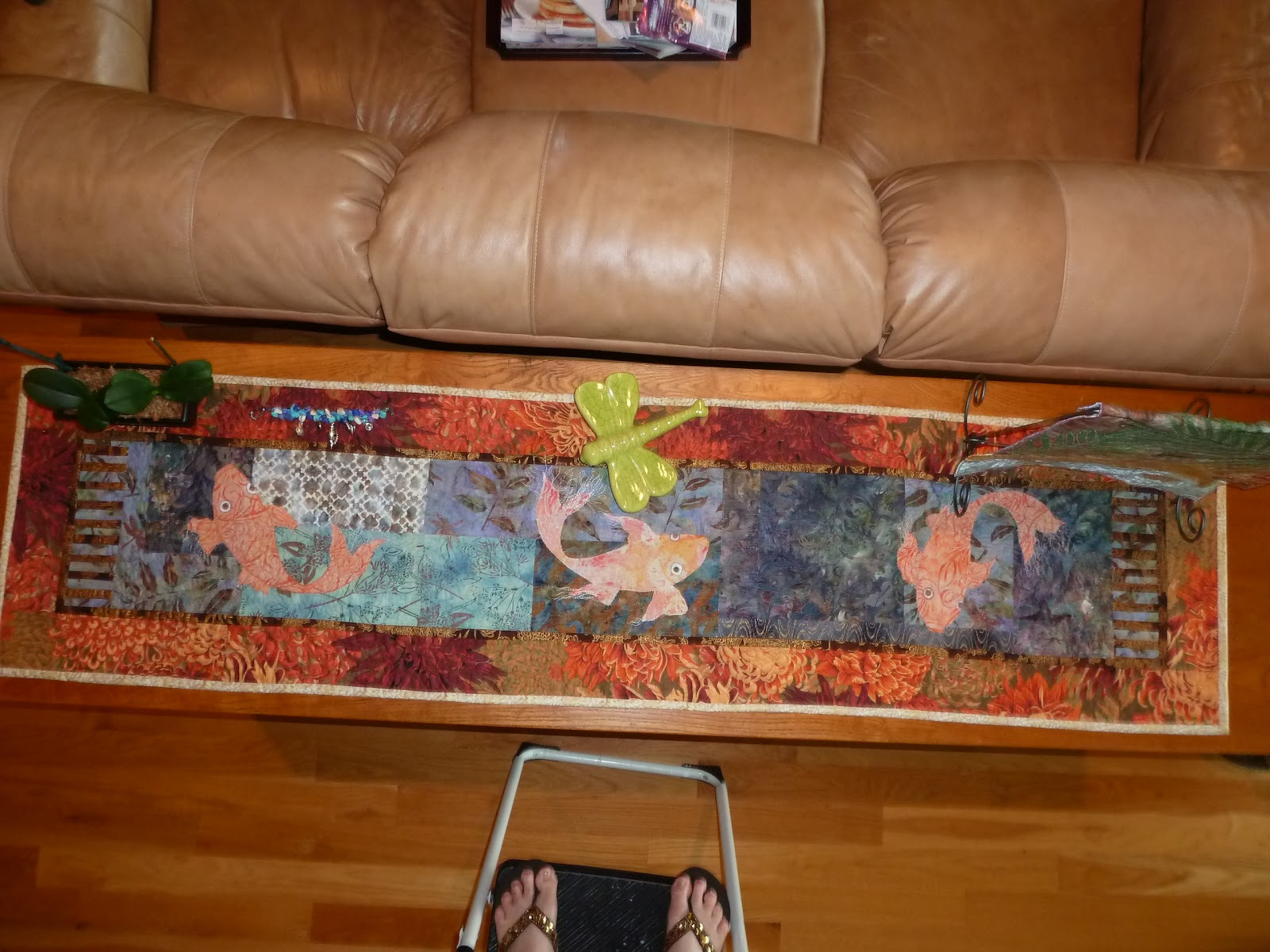 Crooked gulley art quilts for Koi pool table