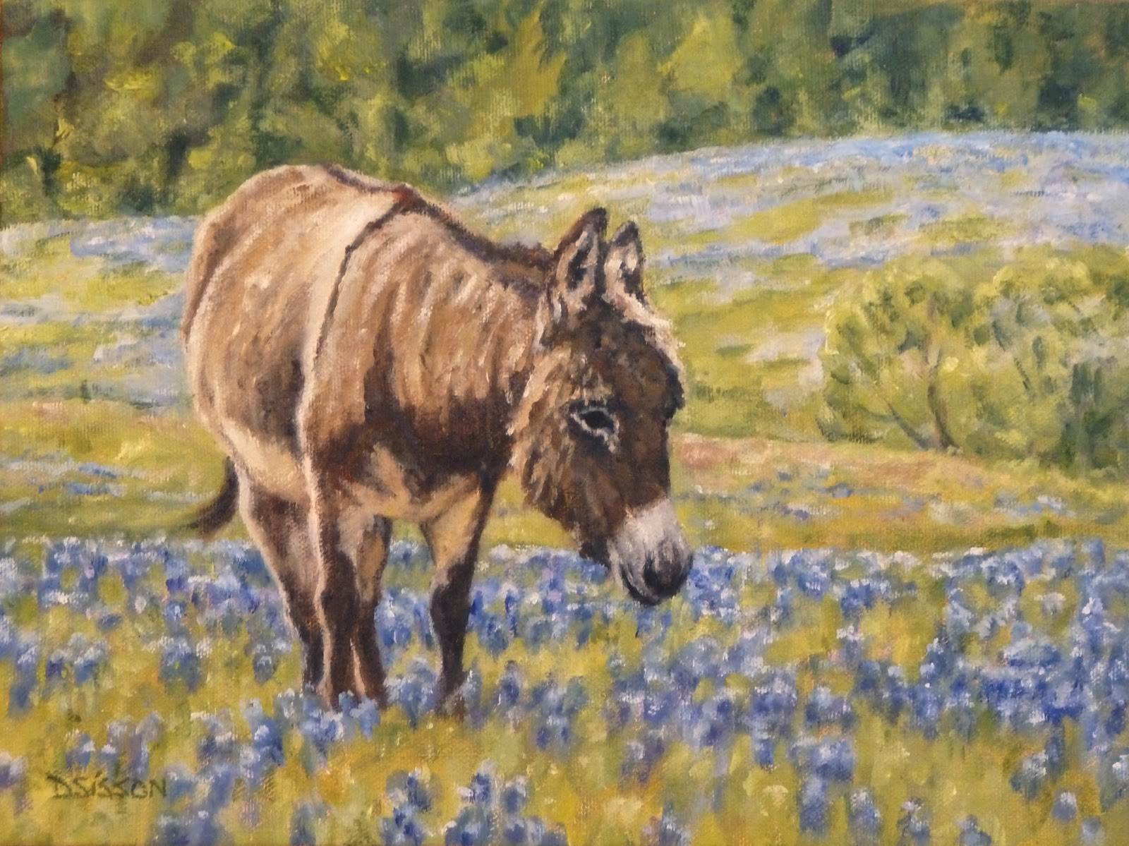 Daily painting projects bluebonnets and burro oil for Animal oil paintings
