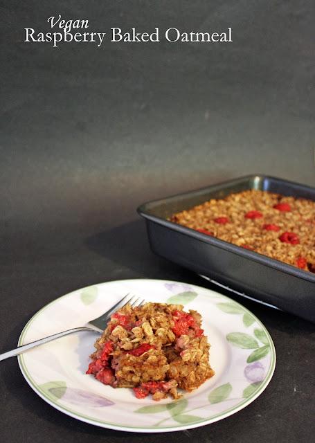 vegan raspberry baked oatmeal