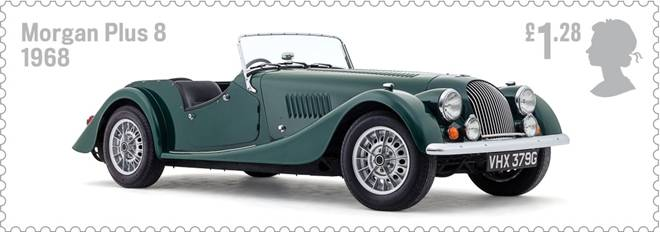 Royal Mail Auto Legends stamp with Morgan Plus 8