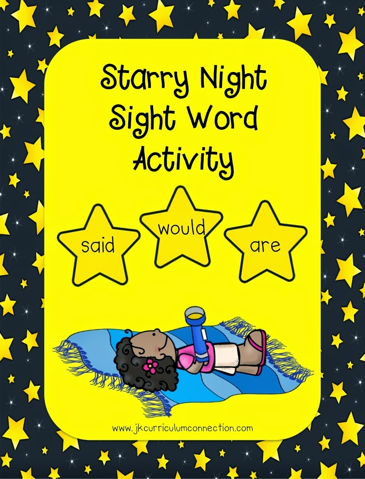 Camping Starry Night Sight Word Activity  JK Curriculum Connection.com
