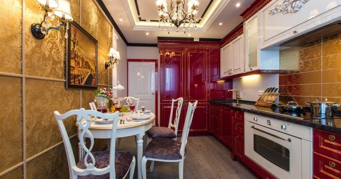 Luxury kitchen and dining room design ideas in classic style for Small luxury dining room
