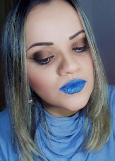 Como Fazer Batom Azul + Tutorial de Makeup Marrom