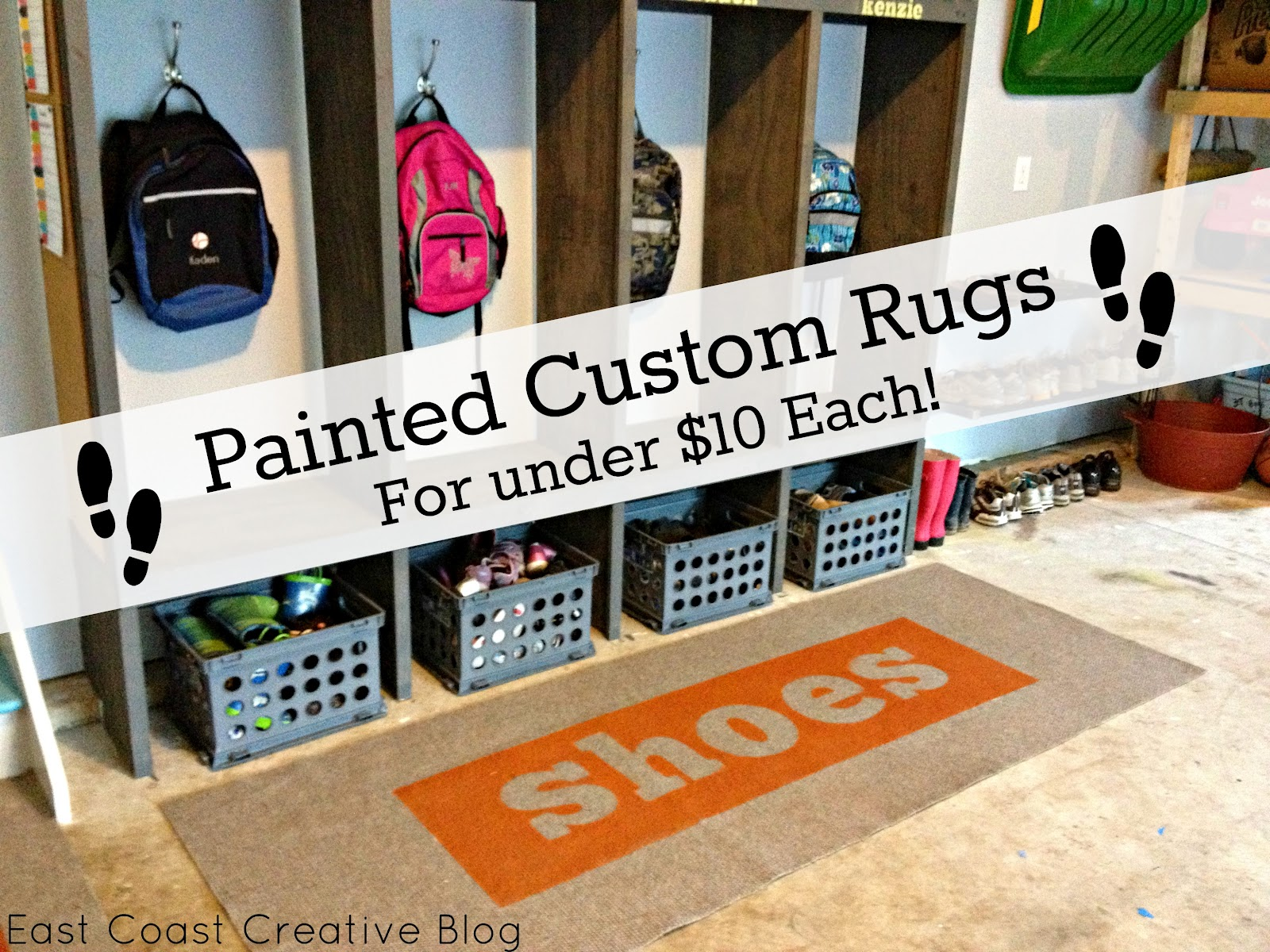 Elegant Custom Painted Runner Rugs {Garage Mudroom Makeover}