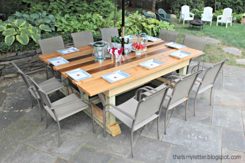 that 39 s my letter diy outdoor trestle dining table. Black Bedroom Furniture Sets. Home Design Ideas