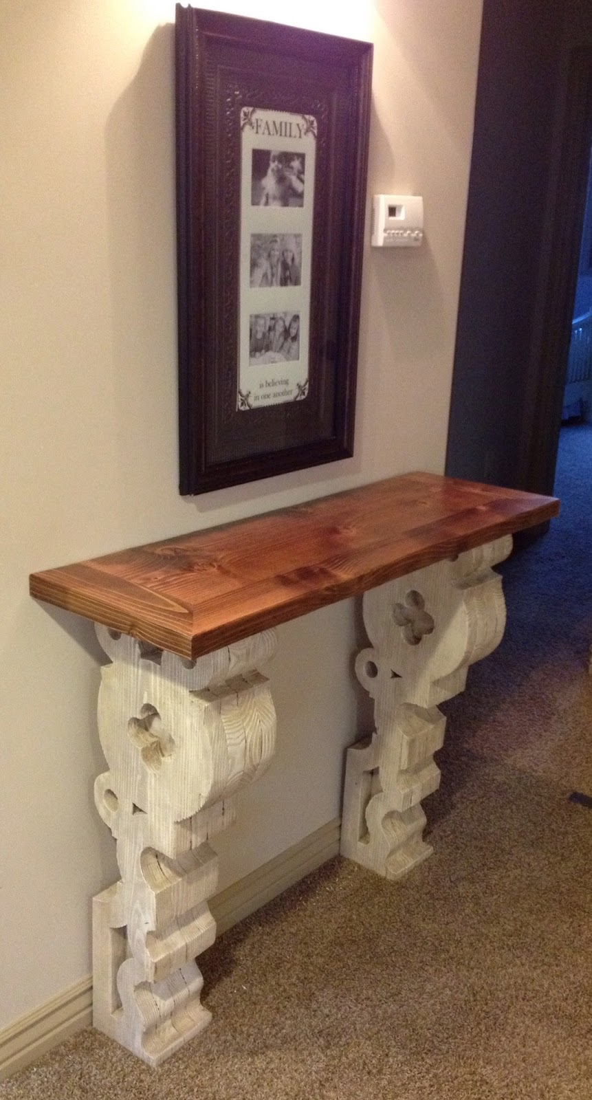 dad built this  corbel entry table