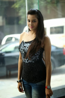 Actress Deeksha Panth New Stills in Jeans at Black is Black Event  0020