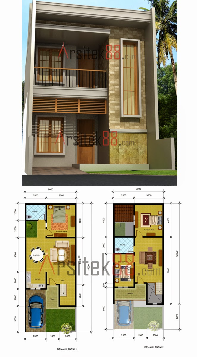 desain rumah minimalis 2 lantai 6 x 15 gambar foto