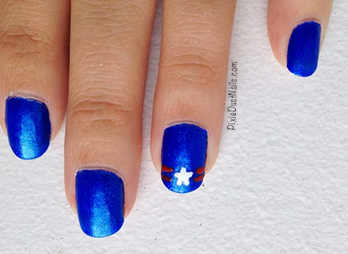 Close up of 4th of July Nail Art