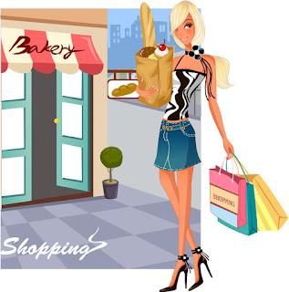 食料を買い込むお洒落な女性 Fashion shopping women イラスト素材