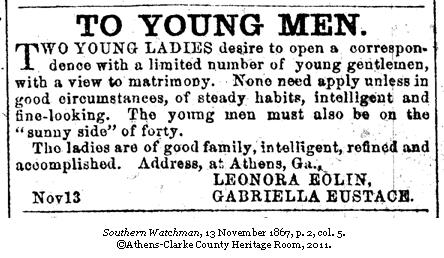 On this day in 1867, the following personal ad was run in the Southern ...