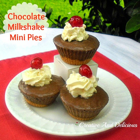 Chocolate Milkshake Mini Pies ~ creamy delicious ! #ChocolatePies #MiniPies #SweetTreats