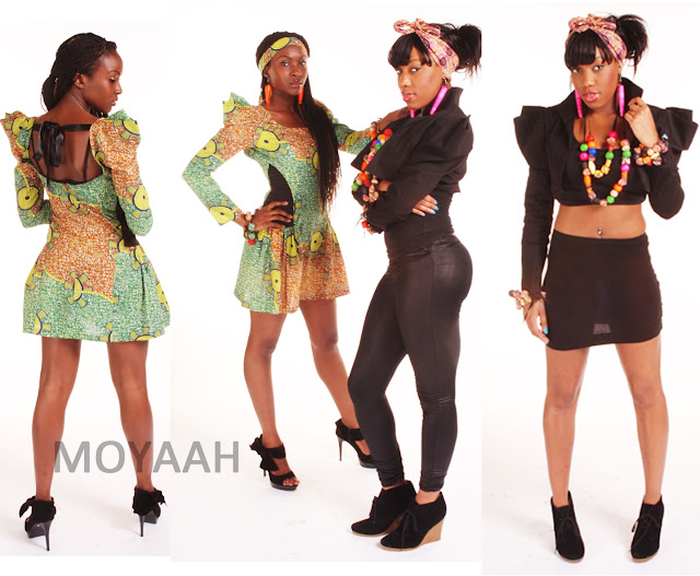 african print dress green dress cowl shoulders, black crop jacket moyaah