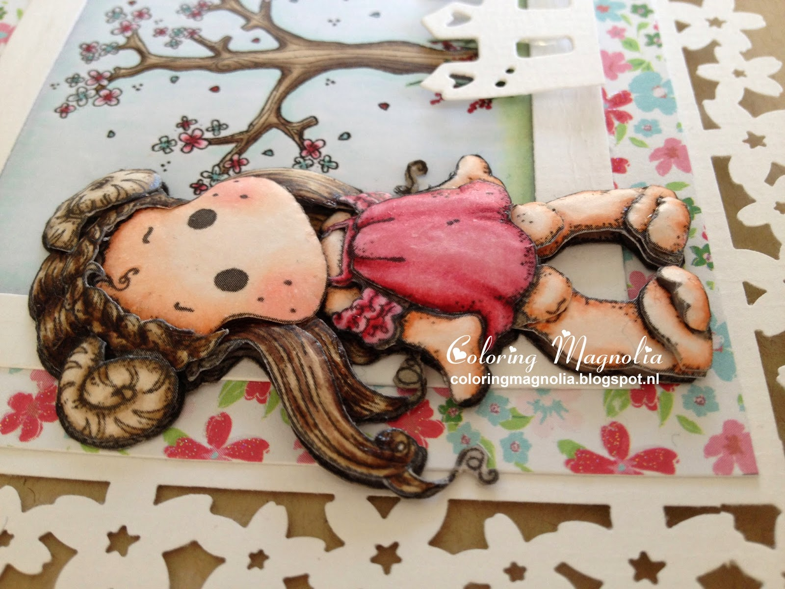 Coloring Magnolia Stamp 2014 Zodiac Collection - Aries Tilda - 3D Paper Piecing Card Close Up