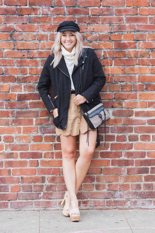 21st Century Mod Girl 60's 70's Style. Bryn Newman of San Francisco Fashion Blog, Stone Fox Style, wears The Kooples,The Reformation, Suede, Clogs and a Fishermans Cap for a perfect fall 2015 on trend look.