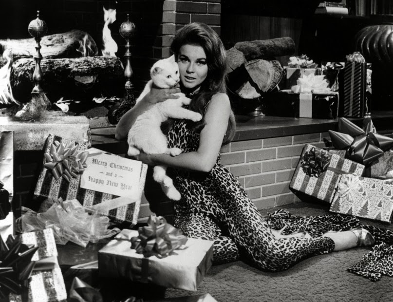 1960's Merry Christmas from Ann Margaret and a kitty cat ...