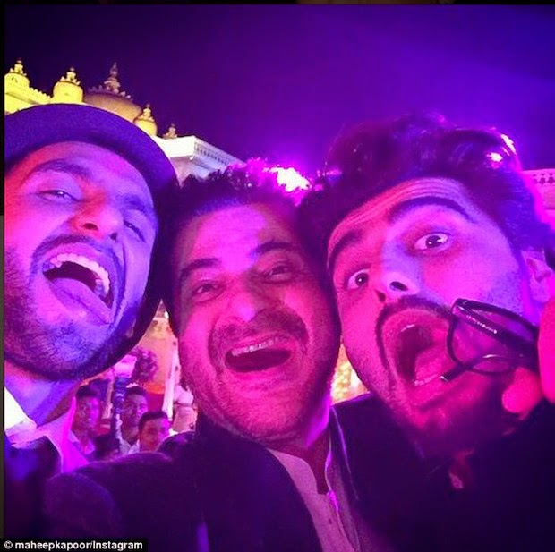 Mad Selfie: Actors Ranveer Singh, Sanjay Kapoor and Arjun kapoor at the wedding