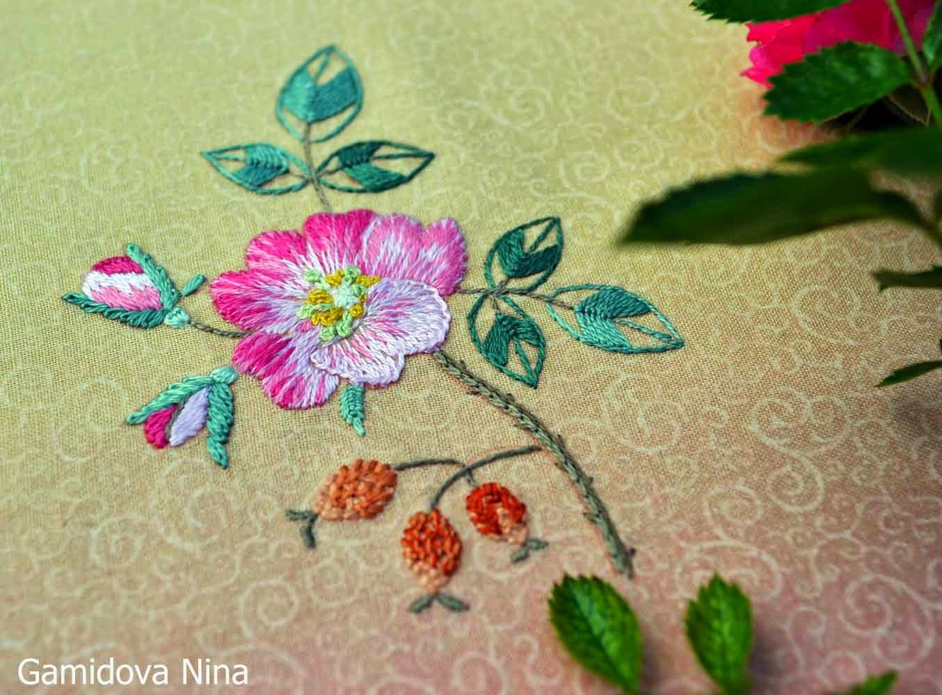 Вышивка декоративными швами. Вышивка по японским дизайнам.