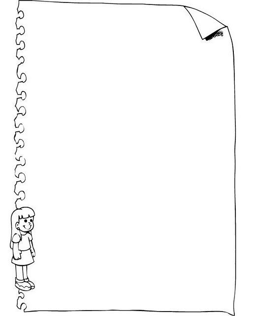 Borde de Pagina de cuaderno con niña para colorear e imprimir ~ 4 Dibujo