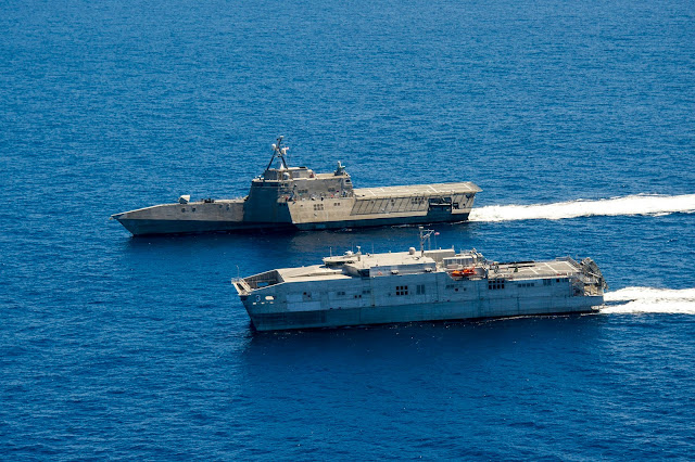 USS Coronado (LCS 4) and USNS Millinocket (JHSV 3)