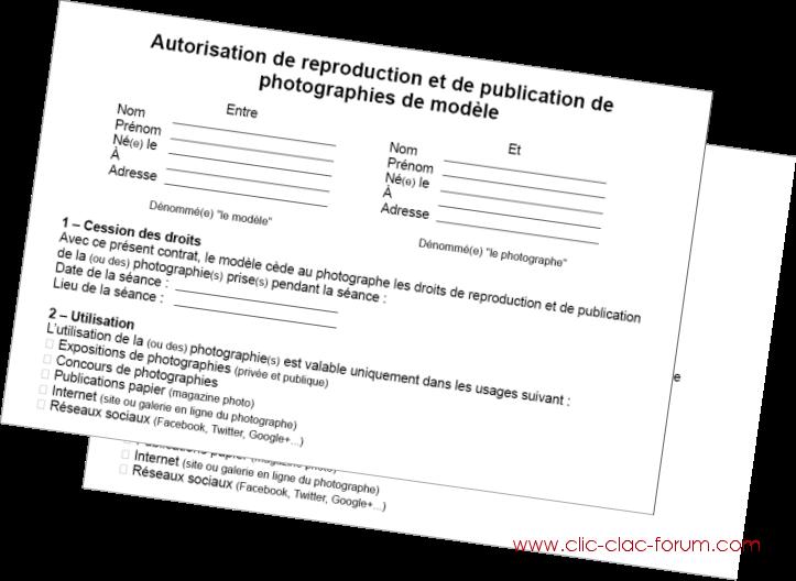 Autorisation de reproduction et de publication pour modèle et photographe ou bâtiment du forum de photographie Clic-Clac