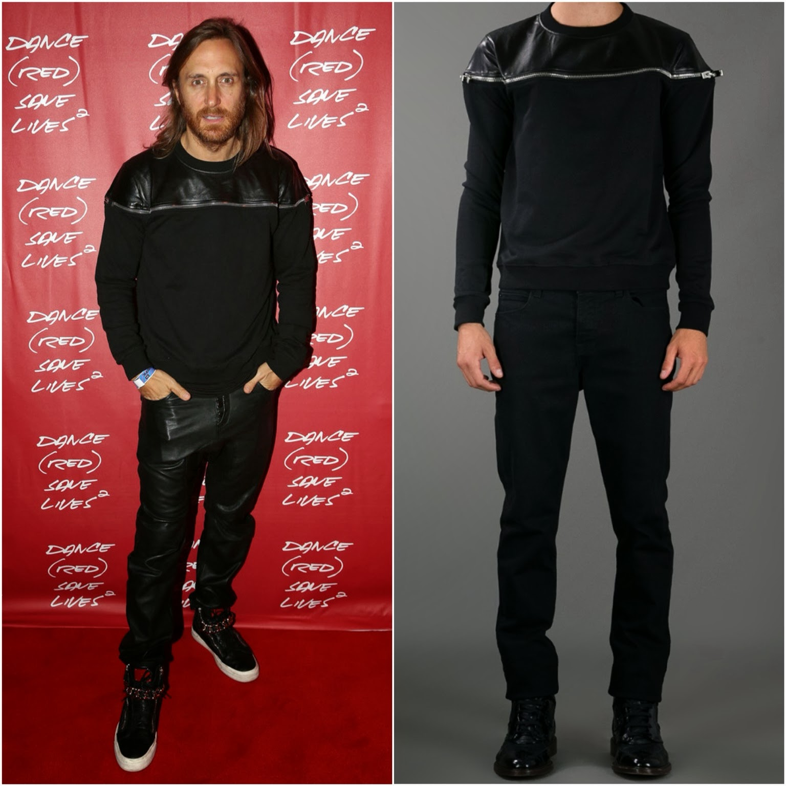 David Guetta in Saint Laurent leather zipped sweatshirt - DANCE (RED) SAVE LIVES, Sydney
