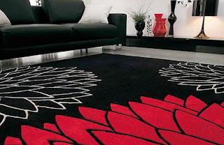 Tapete elegante para sala Preto e Vermelho