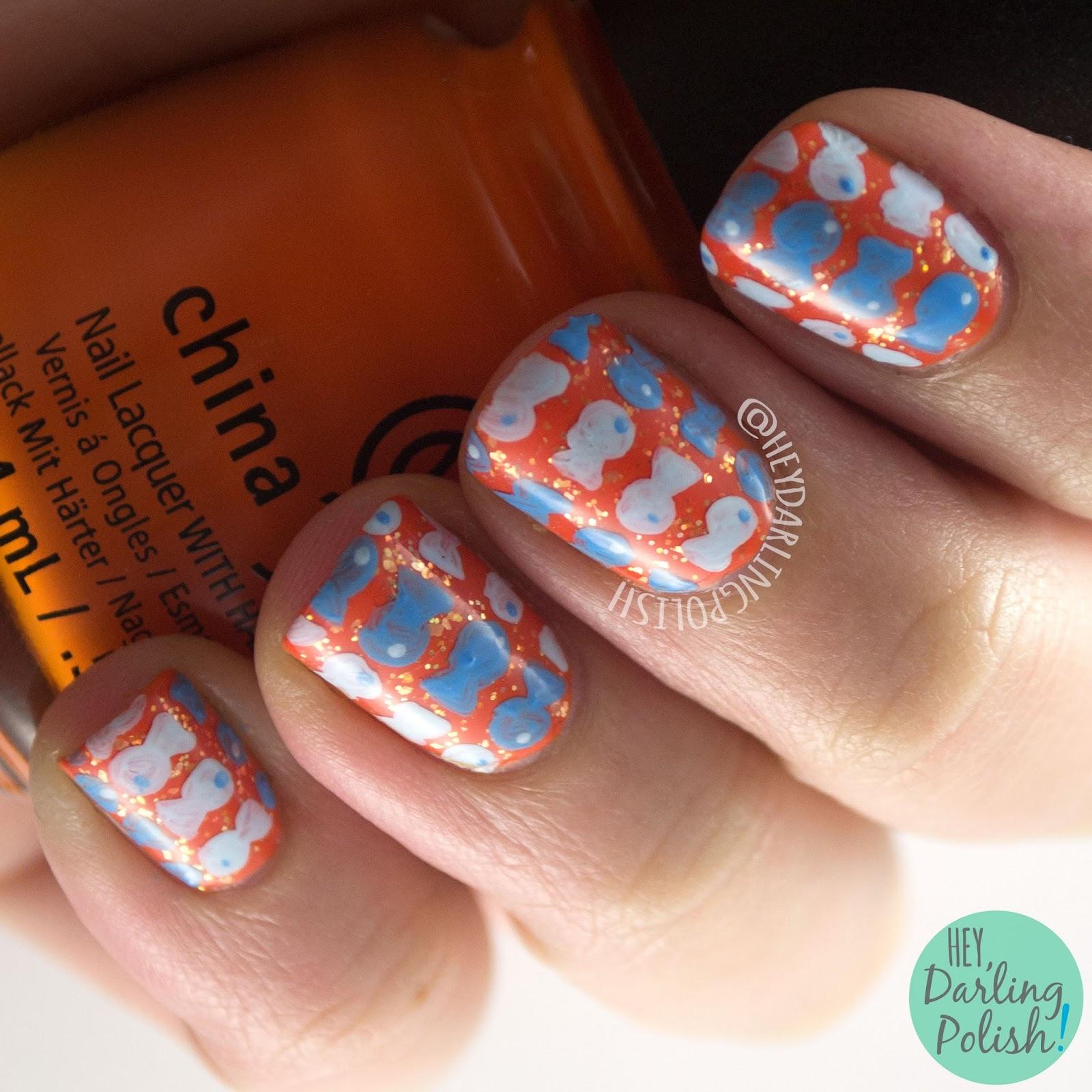 nails, nail art, nail polish, orange, blue, goldfish, fish, pattern, freehand, hey darling polish, 2015 cnt 31 day challenge