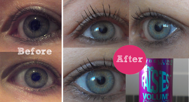 Maybelline The Falsies Volum' Express mascara before & after