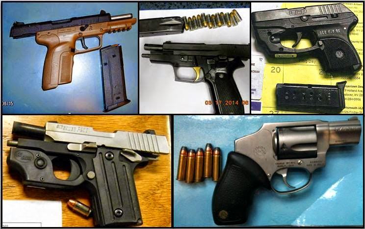 Guns Discovered at (L-R /T-B)DTW, PHX, CRW, and MCO