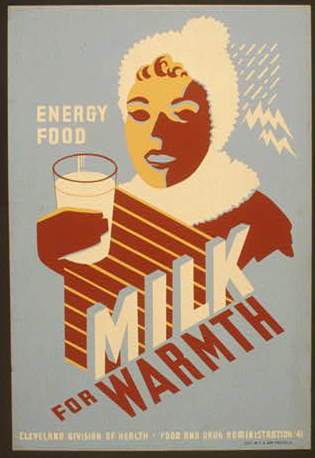 food, food and drug administration, vintage, vintage posters, public health, retro prints, classic posters, free download, graphic design, Energy Food, Milk For Warmth - Vintage Food and Drug Administration Poster