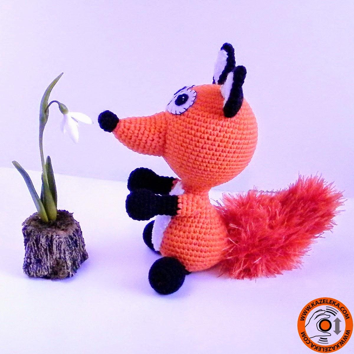 вязаная игрушка лиса