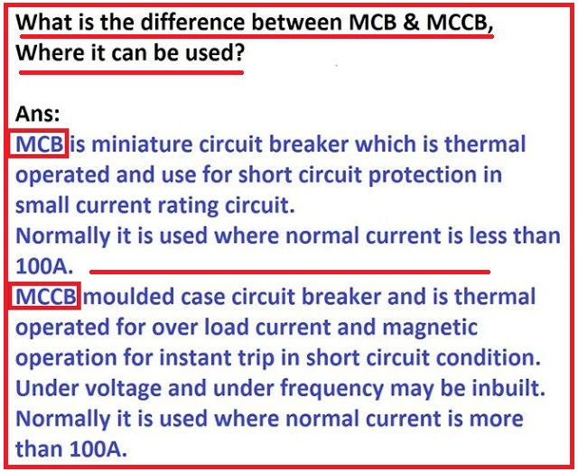 What is the Difference between MCB   MCCB   EEE COMMUNITY