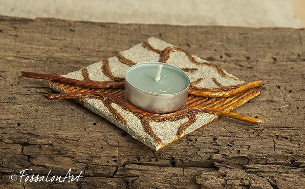 Porta candele in corda, gommalacca e sabbia