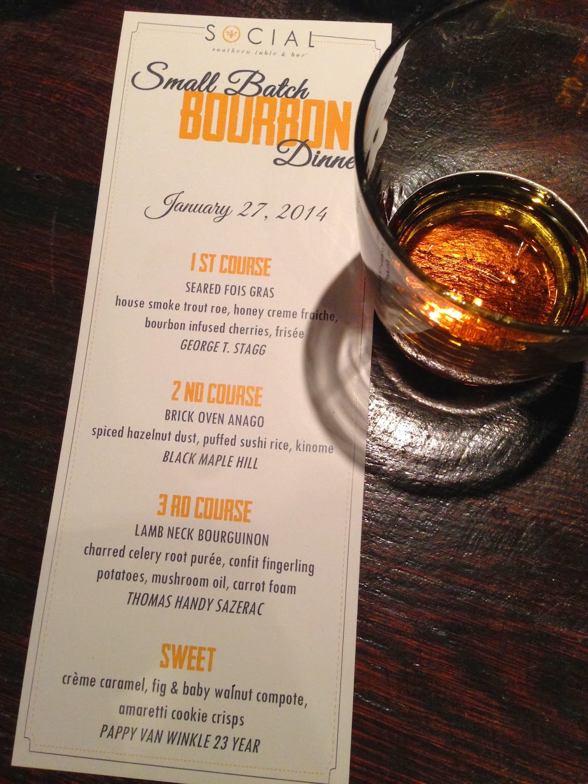 Bourbon Menu at Social