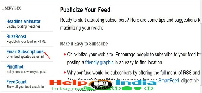 Email subscrption