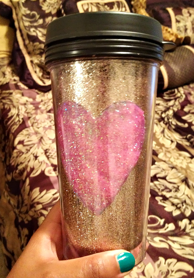 DIY glitter coffee thermos