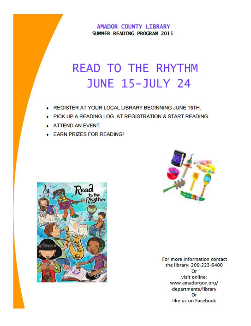 "Amador County Library Summer Reading Program ""Read to the Rhythm"" - June 15 - July 24"