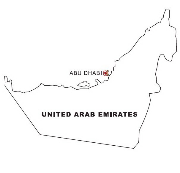 Mapa de Emiratos Árabes Unidos para colorear - Dibujo Views