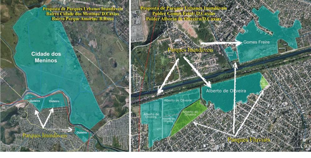 Projeto: Área prevista para Reservatório e Inundação Cidade das Meninas, Polder do Outeiro...