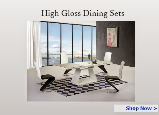 High gloss dining table and chairs set