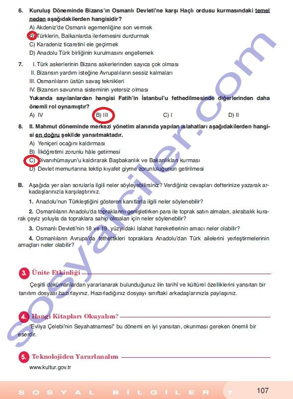 Sosyal bilgiler ders kitabı cevapları 7 sınıf sosyal bilgiler