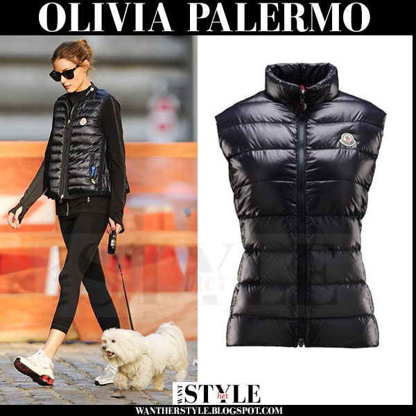 Olivia Palermo in black puffer Moncler Ghany vest and black leggings walking her dog what she wore casual style