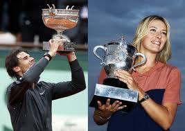 Rafael Nadal & Maria Sharapova Holding their French Open Trophy 2012