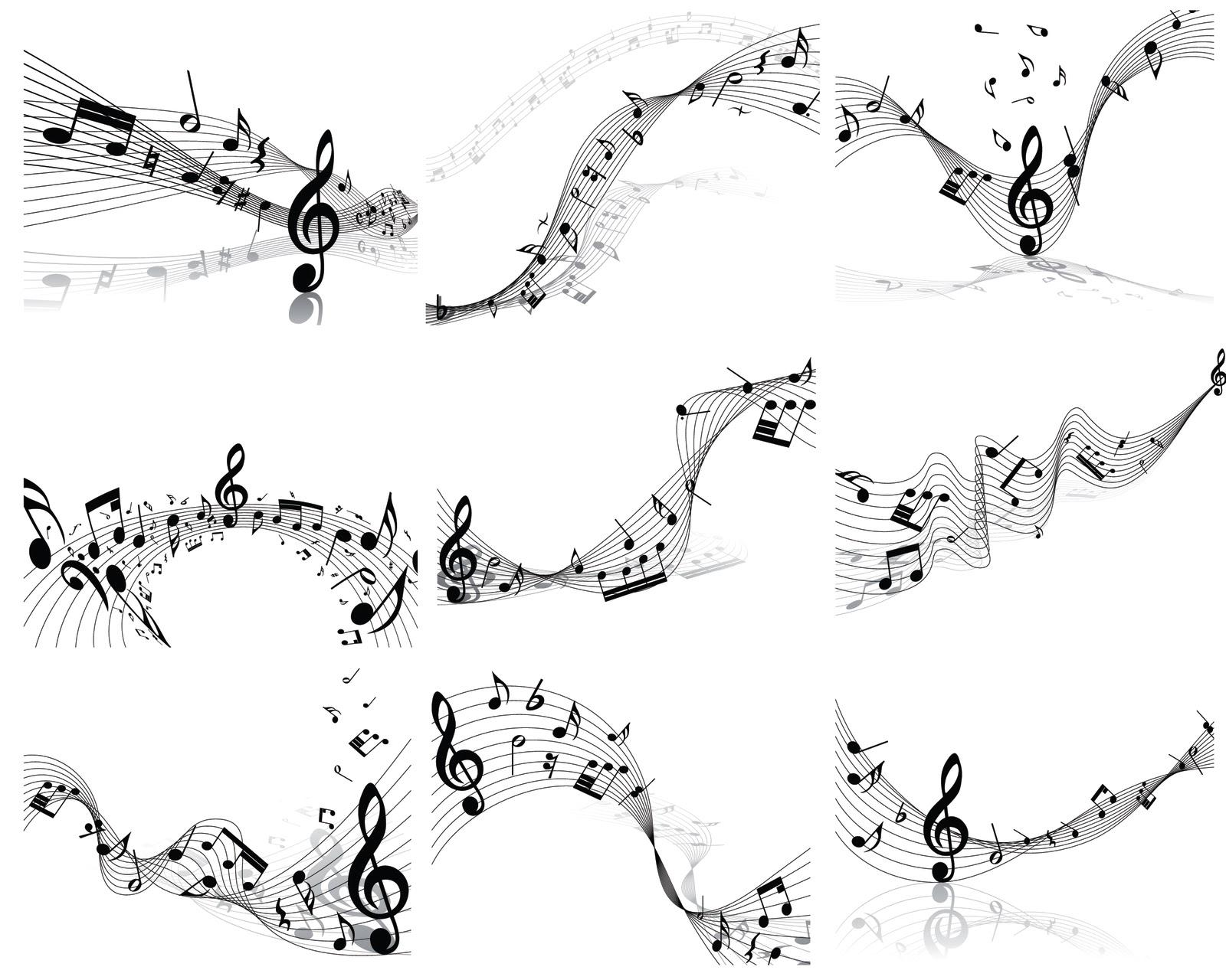 musicales y pentagrama en vector (Music Score and notes in vector ...
