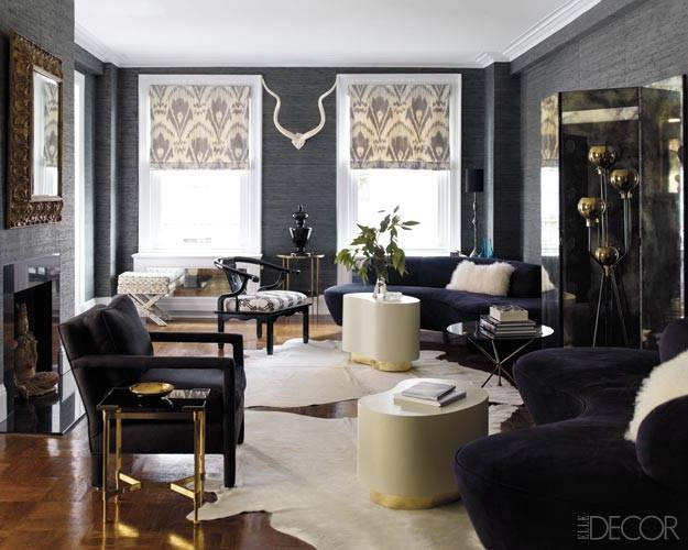 Copy Cat Chic: Copy Cat Chic Room Redo  Elle Decor Noir Living Room