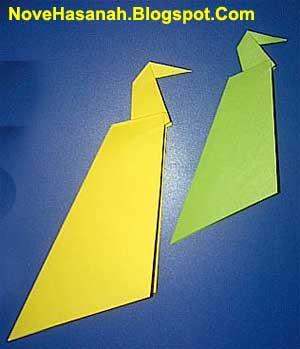cara membuat origami burung merak yang sangat mudah
